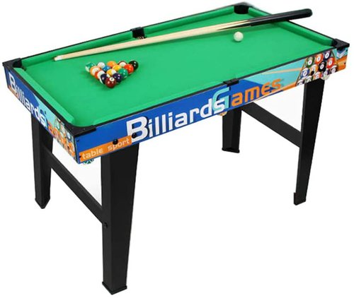 Children's Play Mini Pool & Snooker Table with Wooden Cues